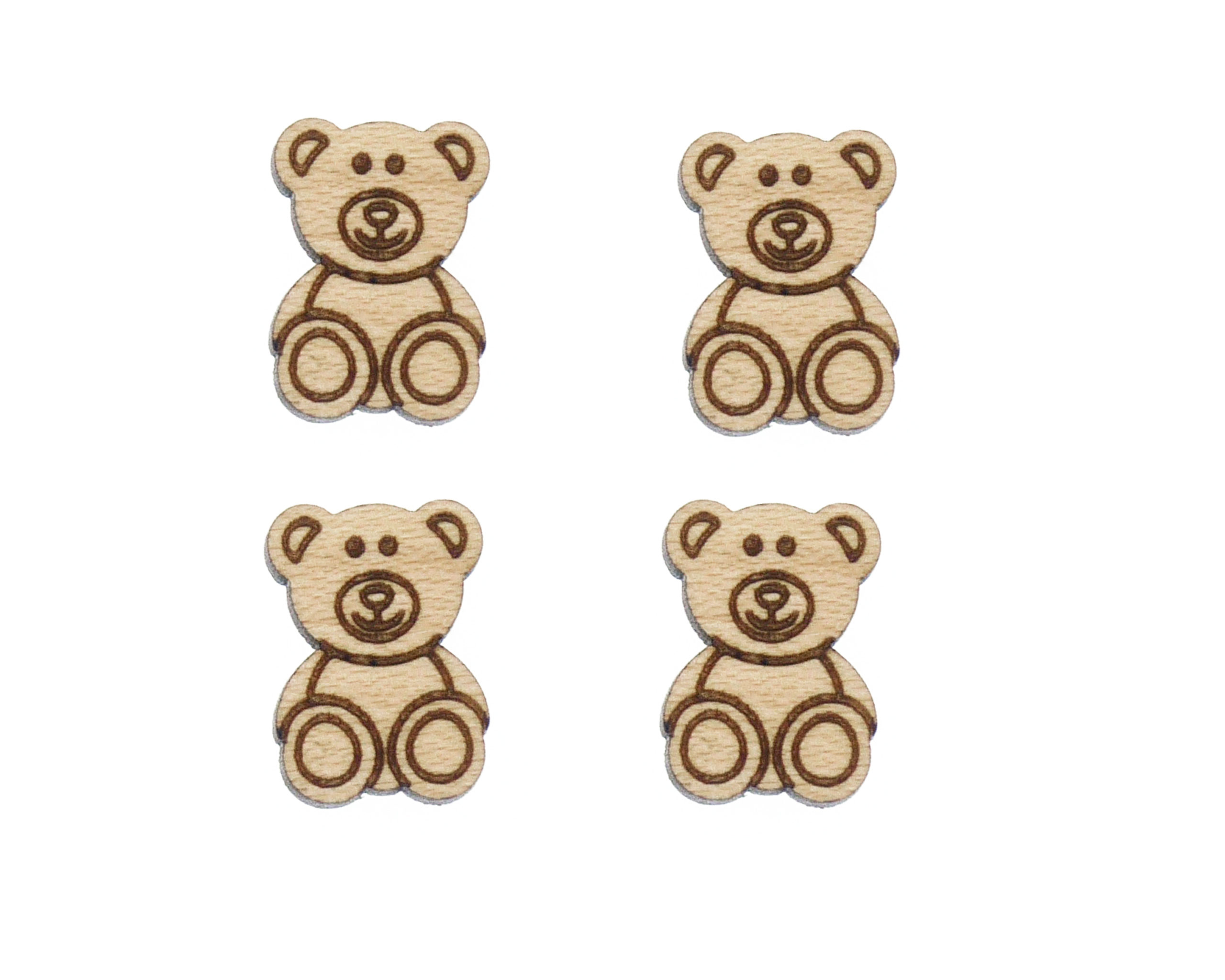 Teddy Bears 01 Engraved Wood Cabochons