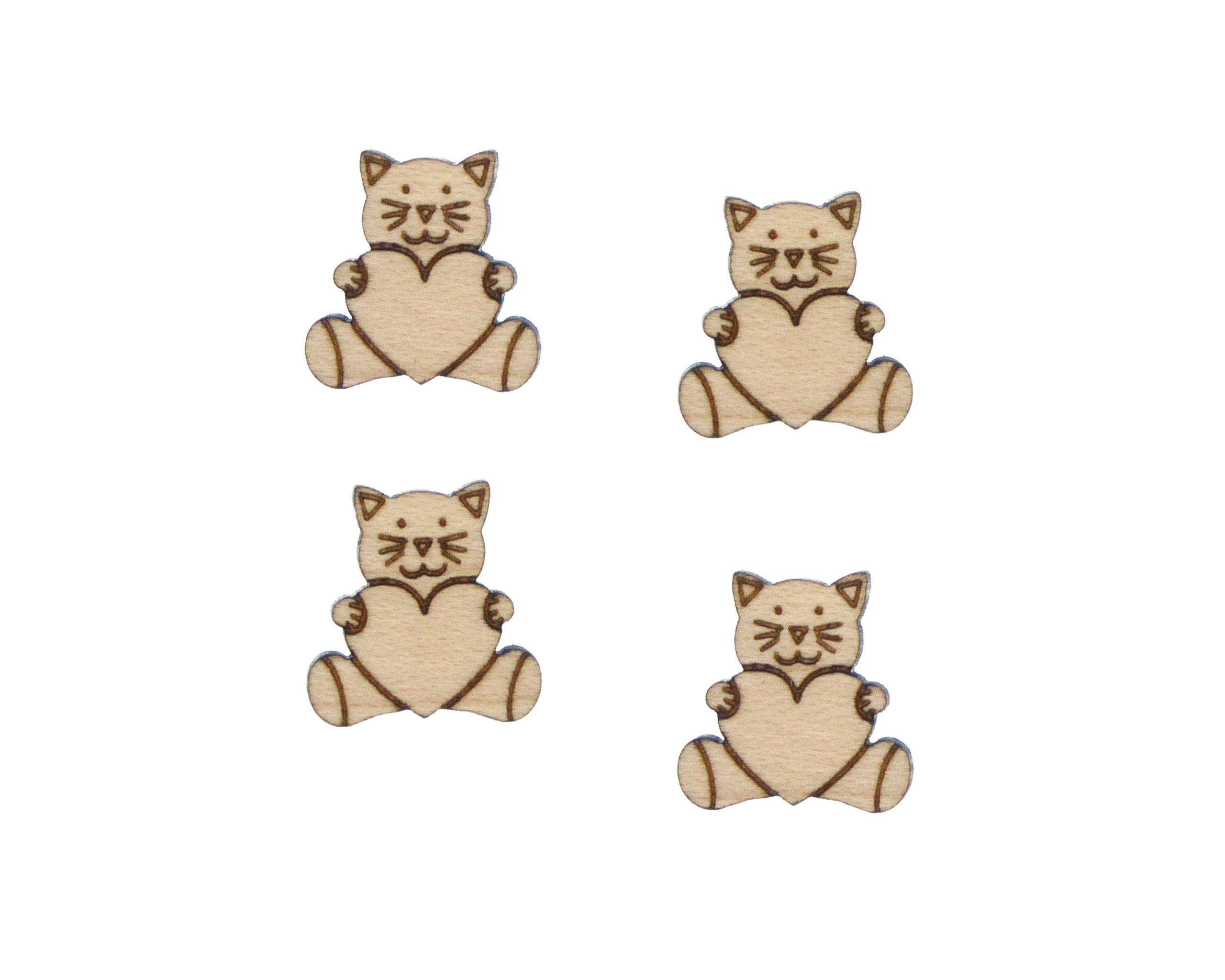 Stuffed Toy Cat with Heart Engraved Wood Cabochons