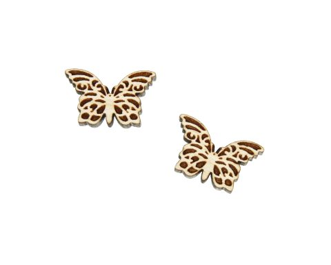 Butterfly Engraved Wood Cabochons