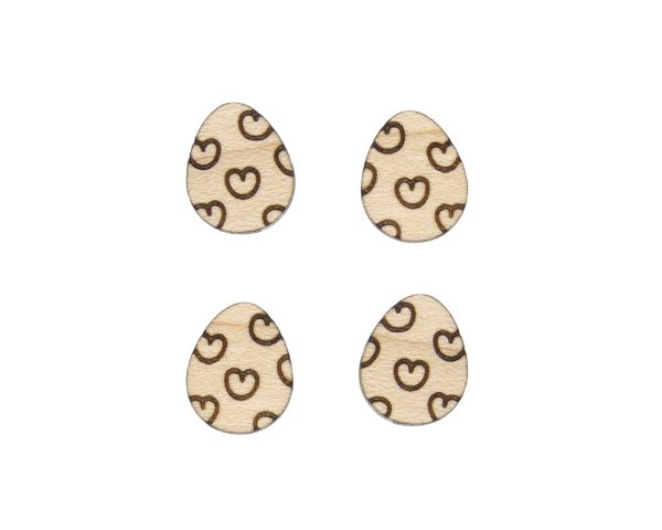Easter Eggs with Hearts Engraved Wood Cabochons