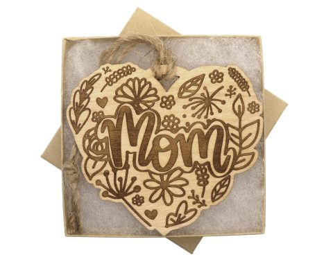 Mom Heart Maple Hardwood Ornament | Customizable