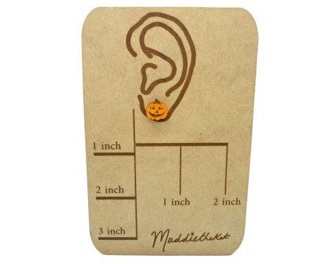 Jack O' Lanterns A02 Maple Hardwood Stud Earrings | Halloween Jewelry | Hand Painted
