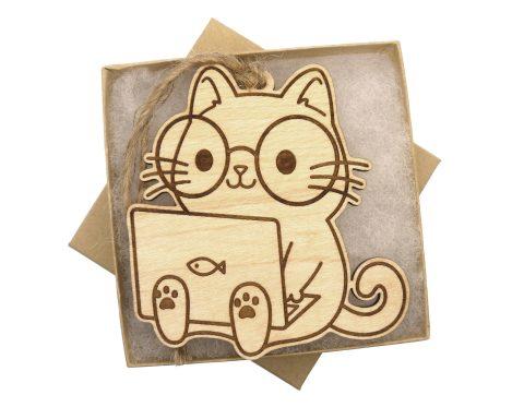 Laptop Cat Maple Hardwood Ornament | Customizable