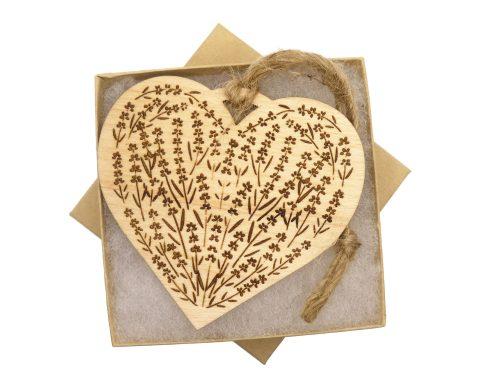 Lavender Flowers on Hear Maple Hardwood Ornament | Customizable