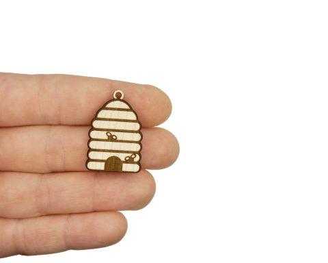 Beehive Engraved Wood Drop Charms