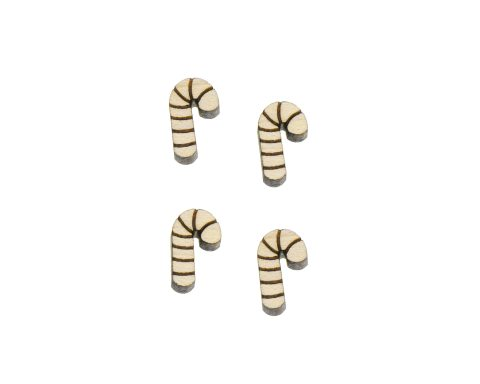 Candy Canes Engraved Wood Cabochons