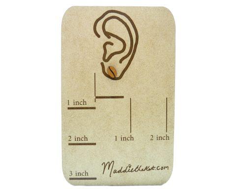 Coffee Bean Cherry Hardwood Stud Earrings