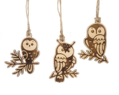 Owls Small Maple Wood Ornaments | Set of 6