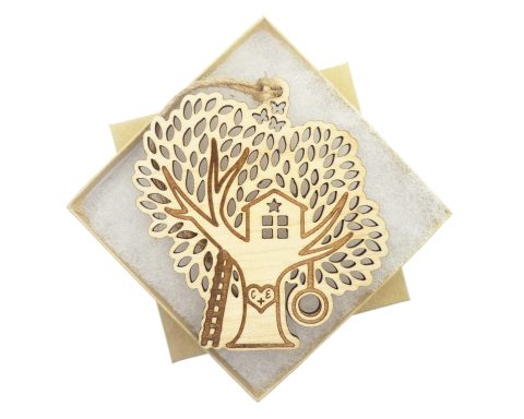 Tree House Maple Wood Ornament   Customizable