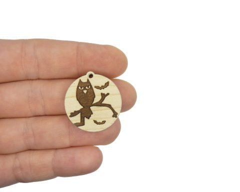 Owls with Bats Engraved Wood Drop Charms