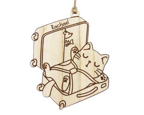 Cat in Suitcase Maple Hardwood Ornament | Customizable