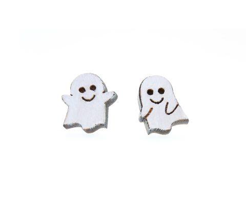 Cute Ghosts Maple Wood Stud Earrings | Hand Painted
