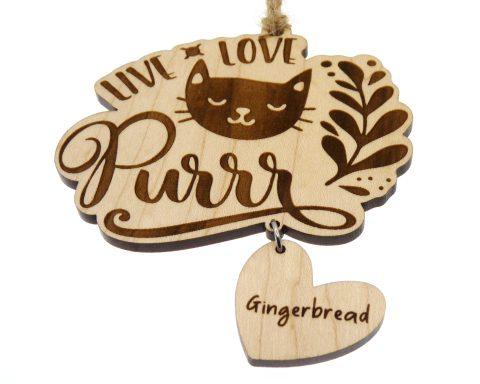 Live. Love. Purrr. Wood Ornament