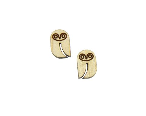 Owls Engraved Wood Cabochons