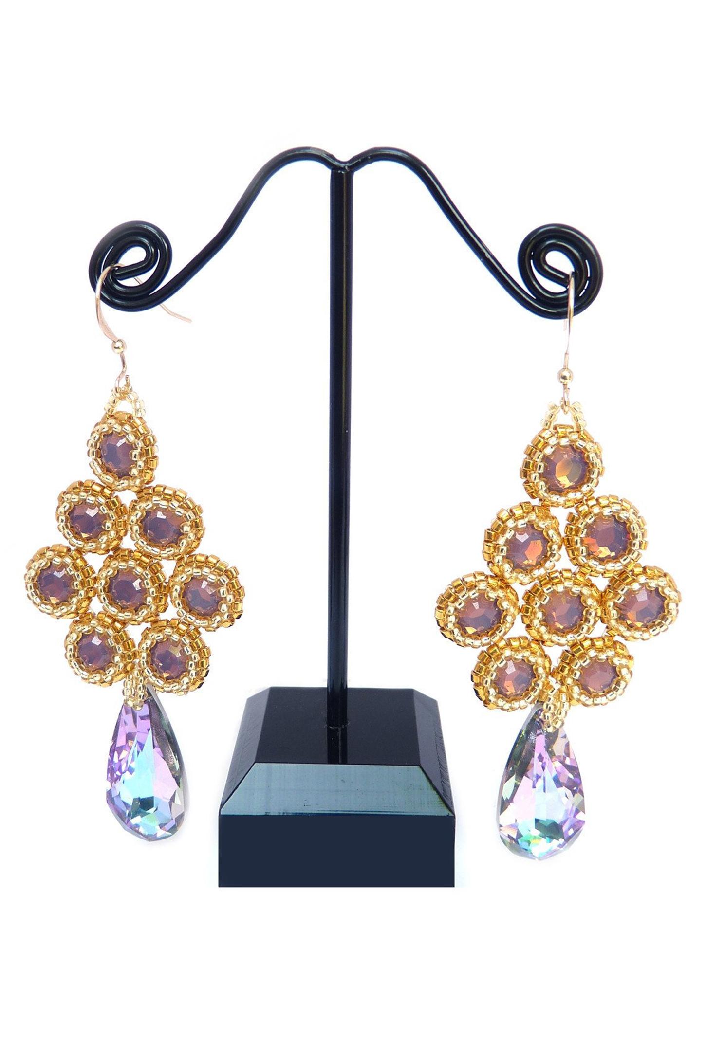 Bezels in Gold and Vitrail Cyclamen Opal Beaded Earrings