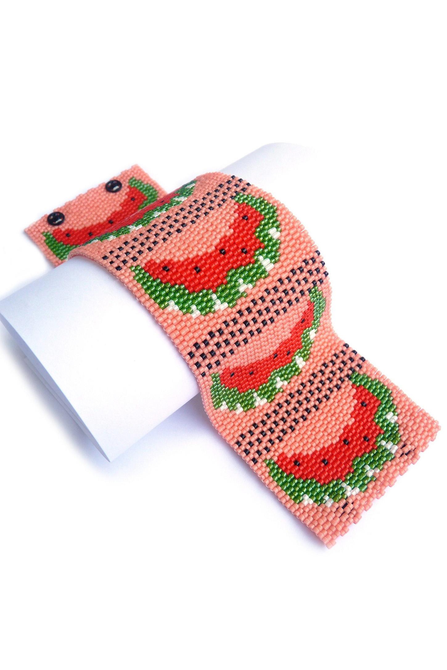 Juicy Watermelon Wide Cuff Beaded Bracelet