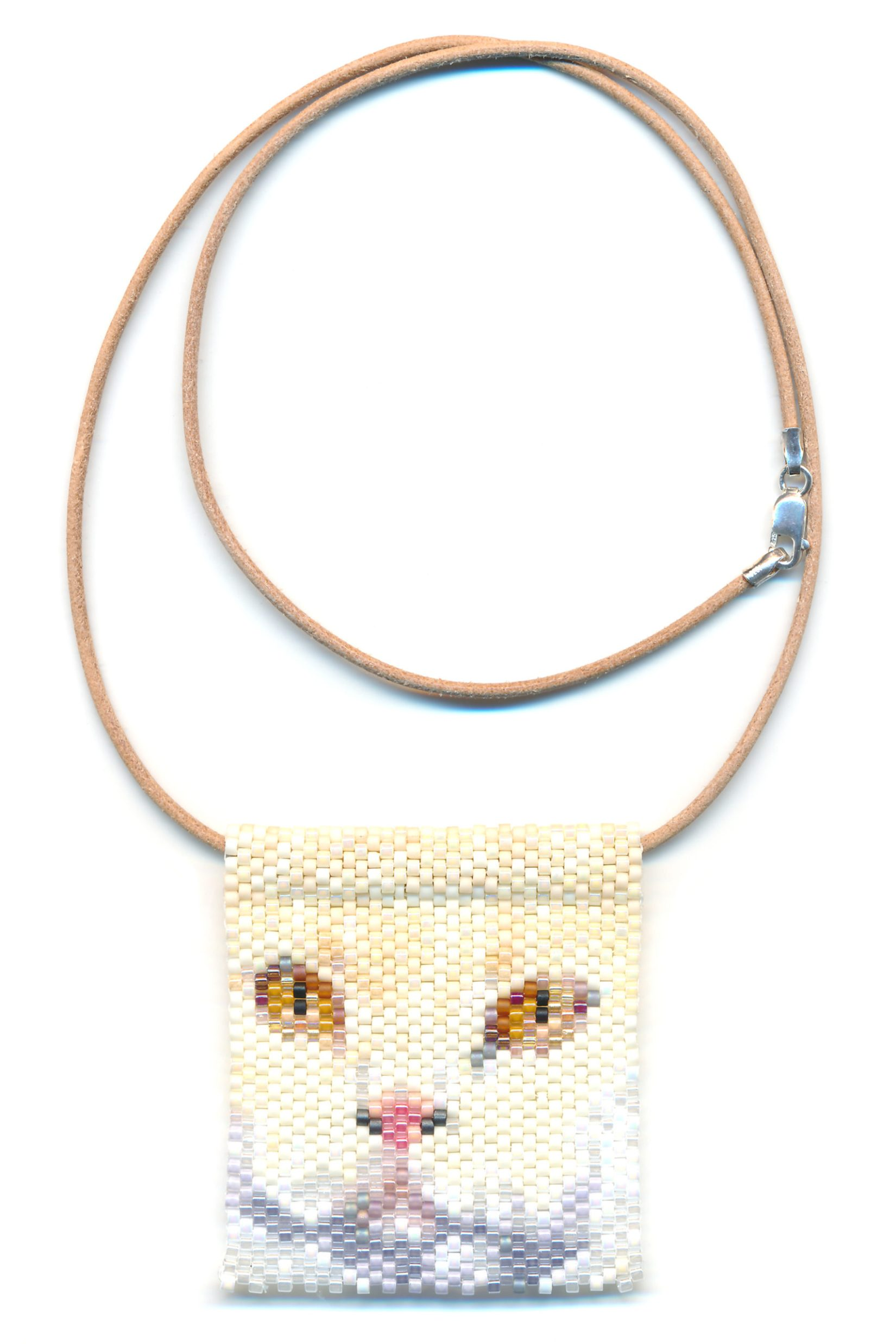 White Cat Face Beaded Necklace