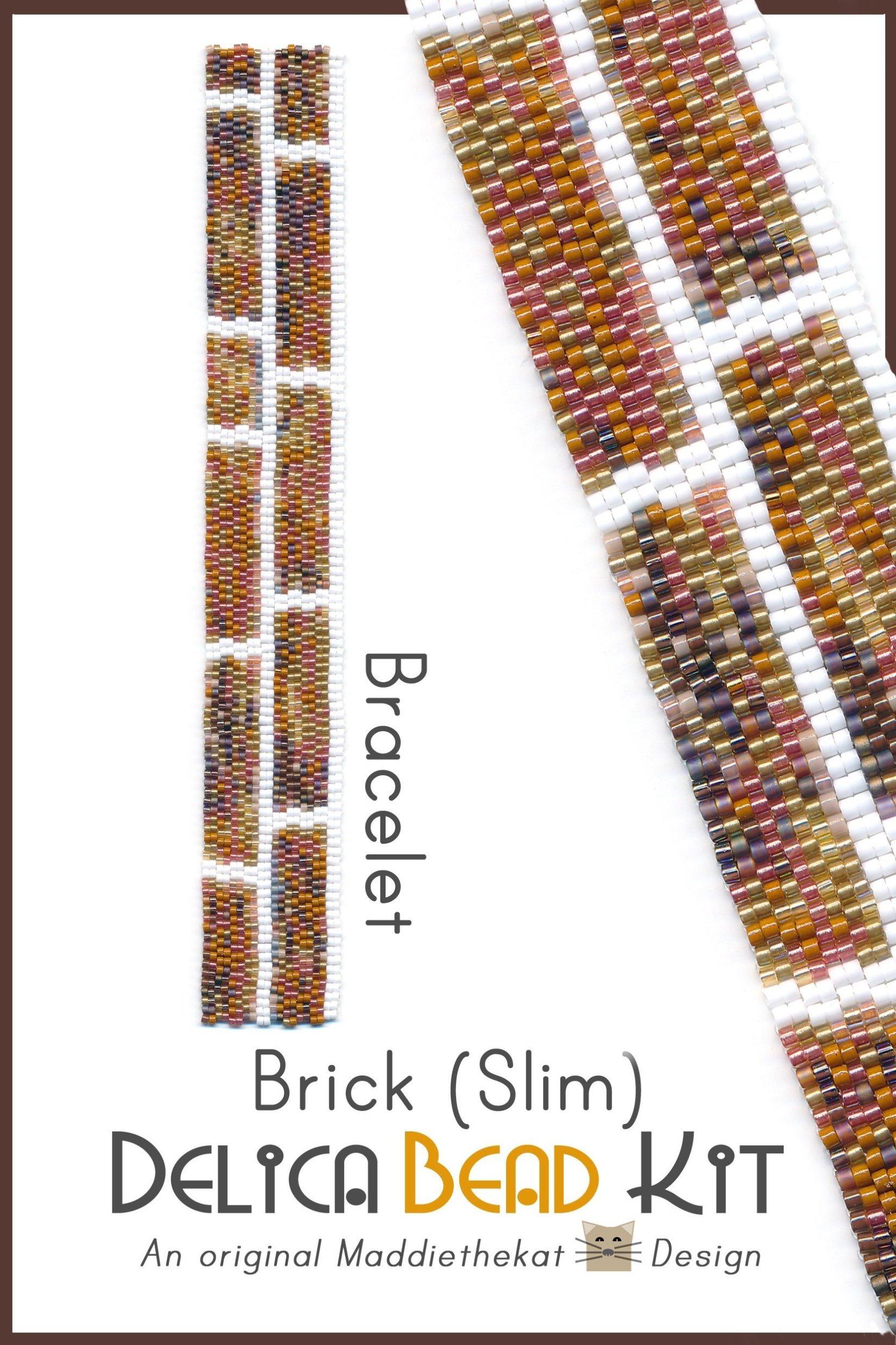Brick Wall Slim Bracelet 2-Drop Peyote Bead Pattern or Bead Kit