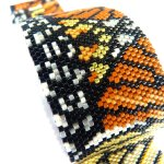 Monarch Butterfly Design Peyote Seed Beaded Bracelet-Maddiethekat Designs