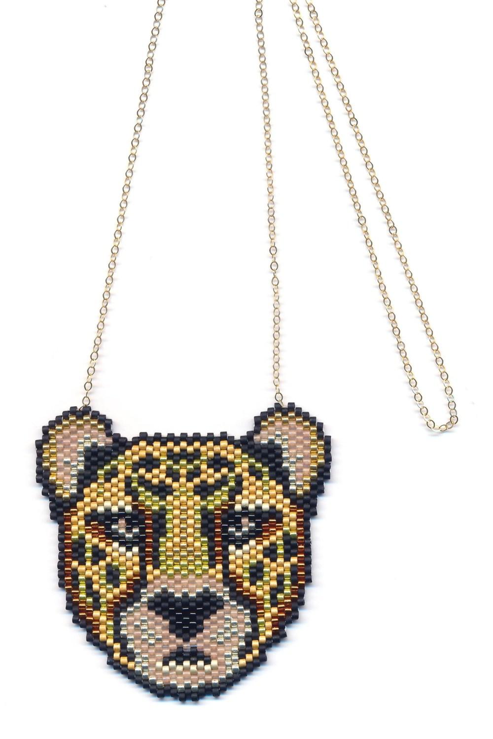 Metallic Cheetah Beaded Pendant Necklace