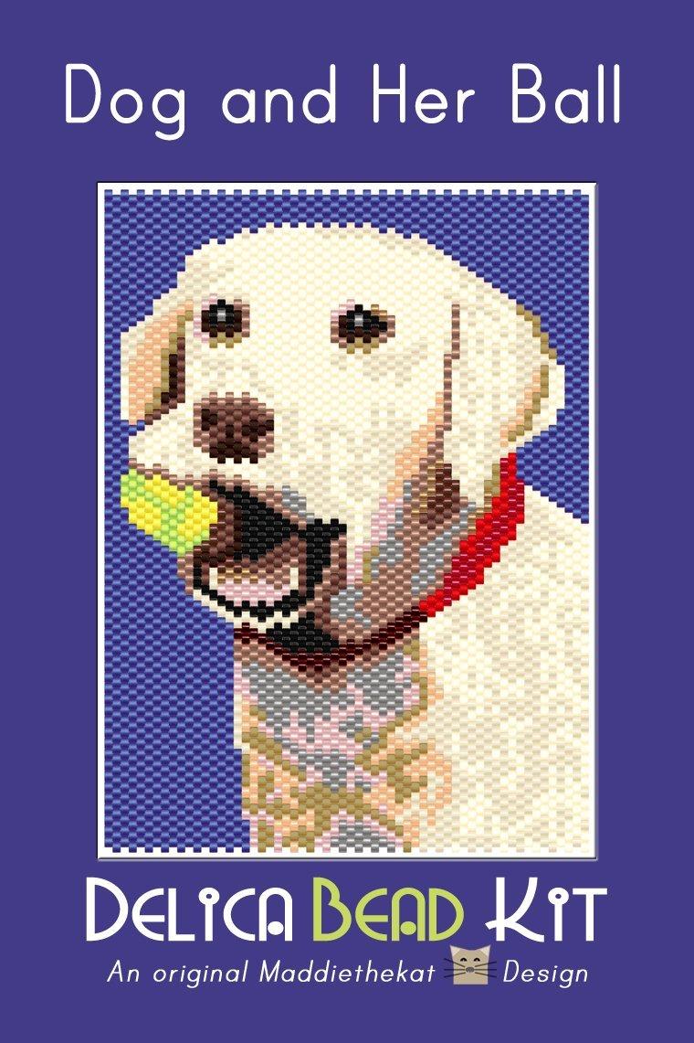 Dog and Her Ball Small Panel Peyote Seed Bead Pattern PDF or KIT DIY Labrador-Maddiethekat Designs