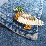 drake mallard duck delica seed beaded pin bird maddiethekat designs 4