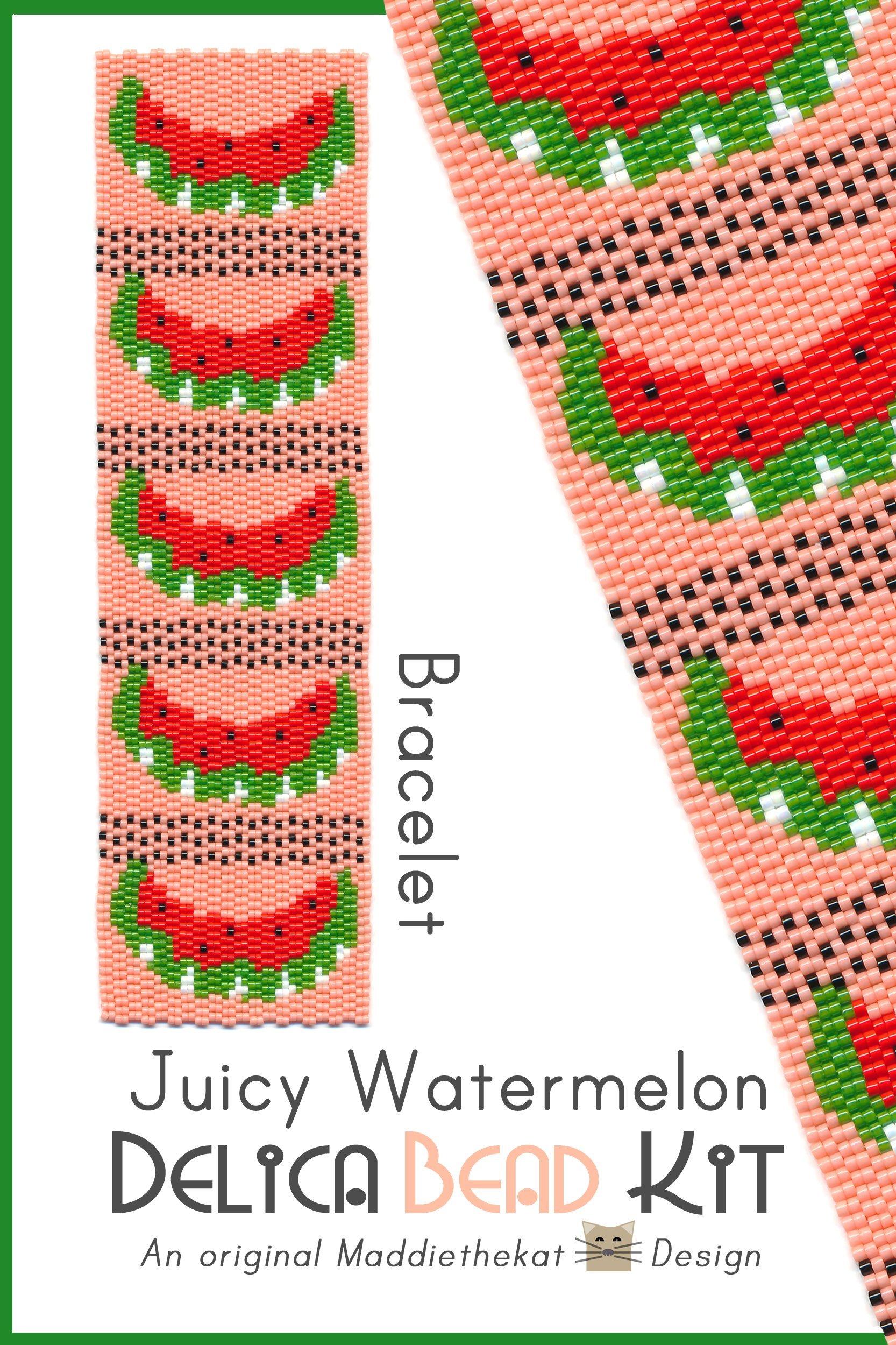 Juicy Watermelon Wide Cuff Bracelet 2-Drop Peyote Pattern Delica Seed Bead DIY Fruit-Maddiethekat Designs