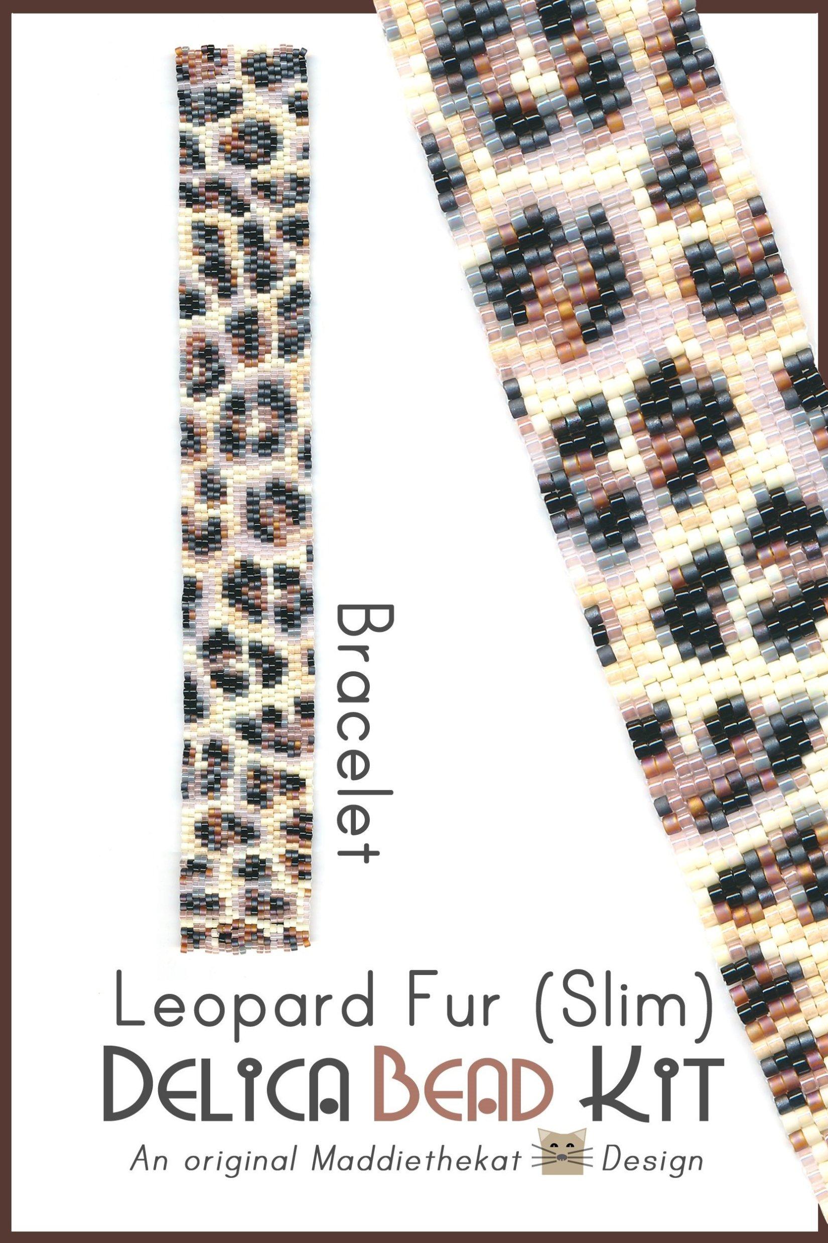 Leopard Fur Slim Bracelet Peyote Bead Pattern PDF or Bead Kit