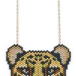 Metallic Cheetah Seed Beaded Pendant Necklace-Maddiethekat Designs