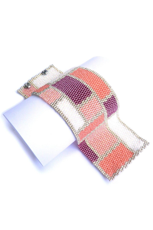 Mondrian Feminine Wide Cuff Beaded Bracelet