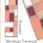 Mondrian Feminine Wide Cuff Bracelet 2-Drop Peyote Bead Pattern or Bead Kit