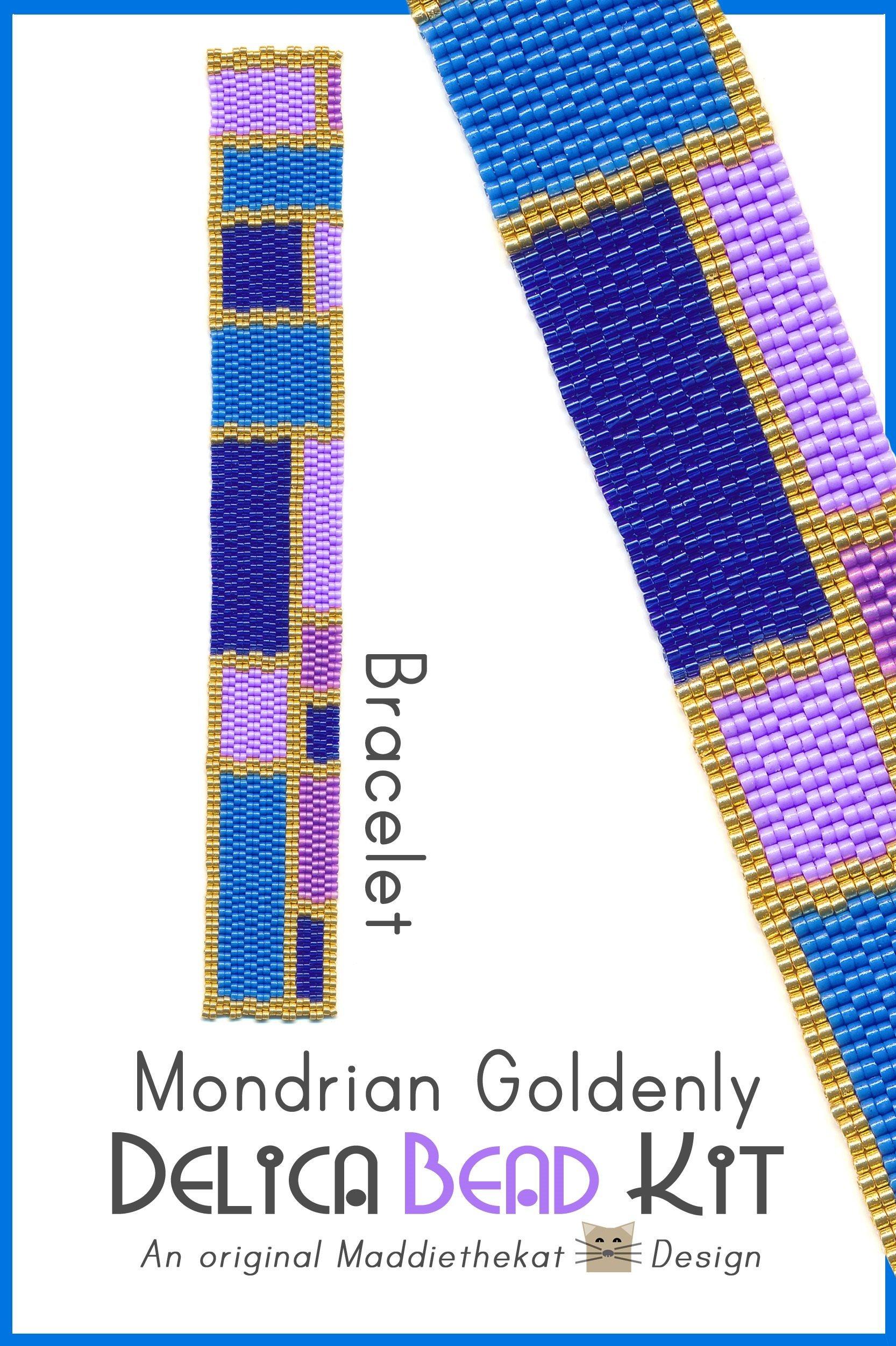 Mondrian Goldenly Slim Bracelet 2-Drop Peyote Bead Pattern or Bead Kit