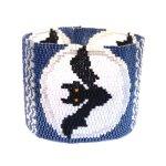 Moon Bats Wide Cuff 2-Drop Peyote Seed Beaded Bracelet-Maddiethekat Designs