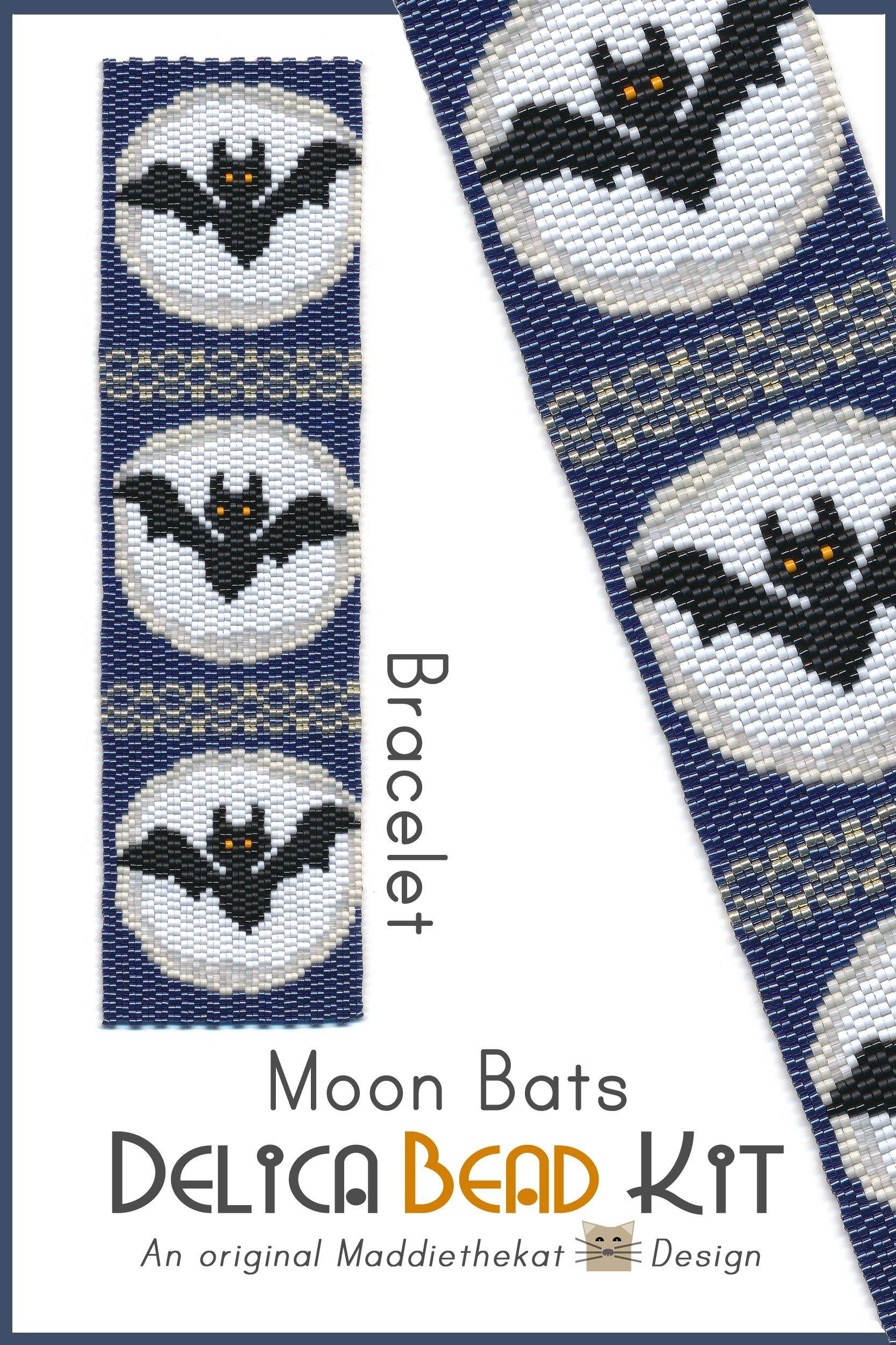 Moon Bats Wide Cuff Bracelet 2-Drop Peyote Bead Pattern or Bead Kit