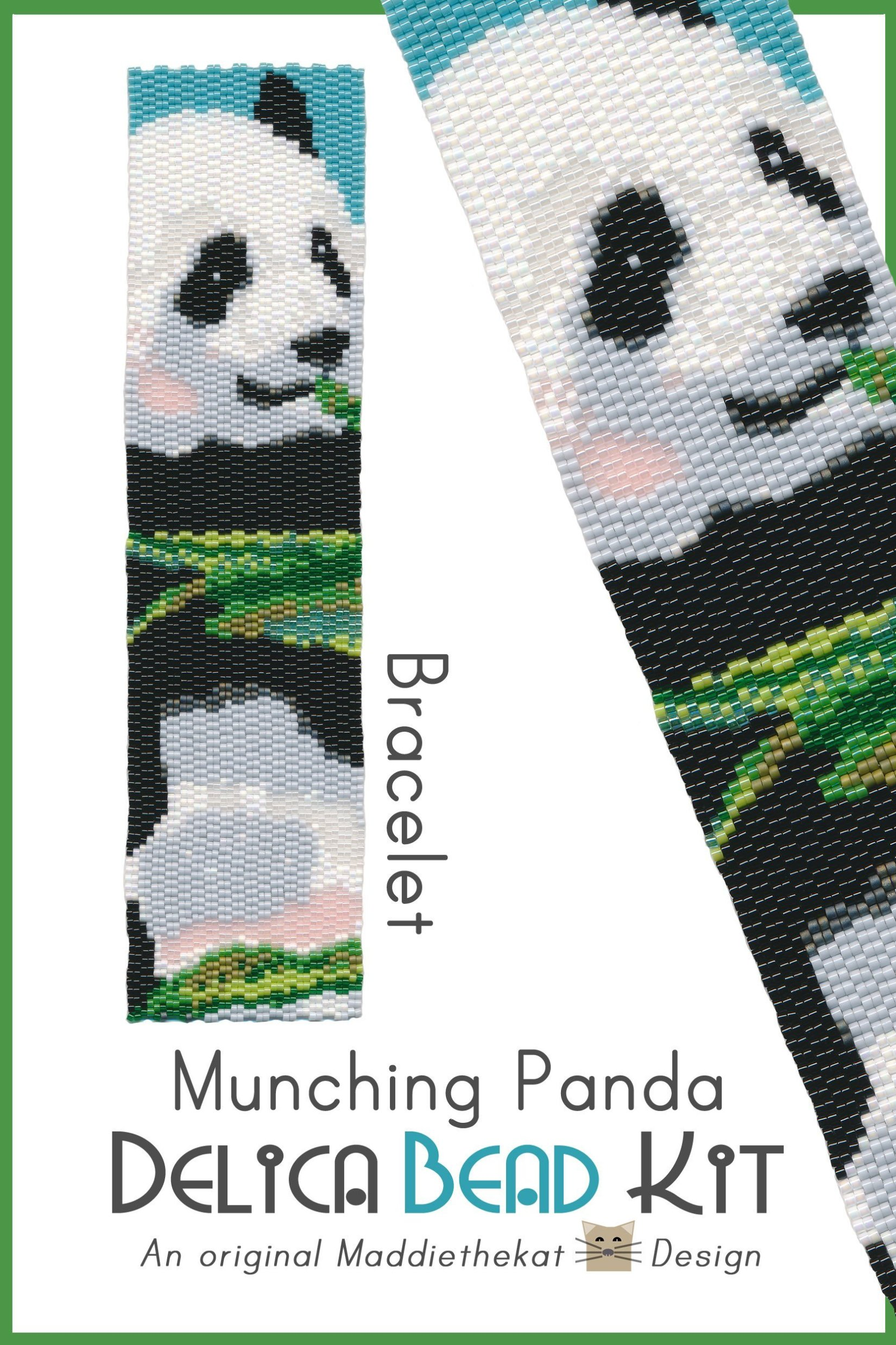 Munching Panda Wide Cuff Bracelet 2-Drop Peyote Bead Pattern or Bead Kit