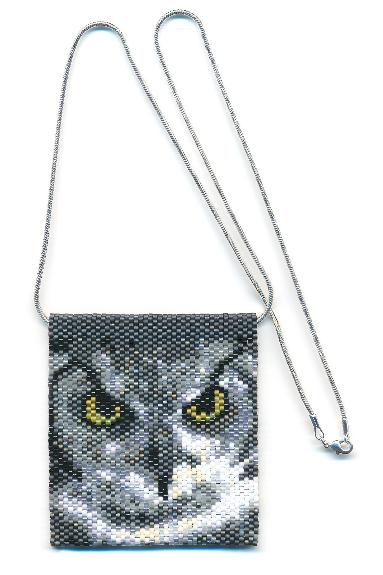Owl Beaded Necklace Mini Amulet Bag