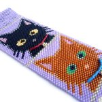 Pretty Kitties Cuff Peyote Seed Beaded Bracelet Cats-Maddiethekat Designs