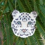 Snow Leopard Wild Cat Seed Beaded Pendant Necklace-Maddiethekat Designs