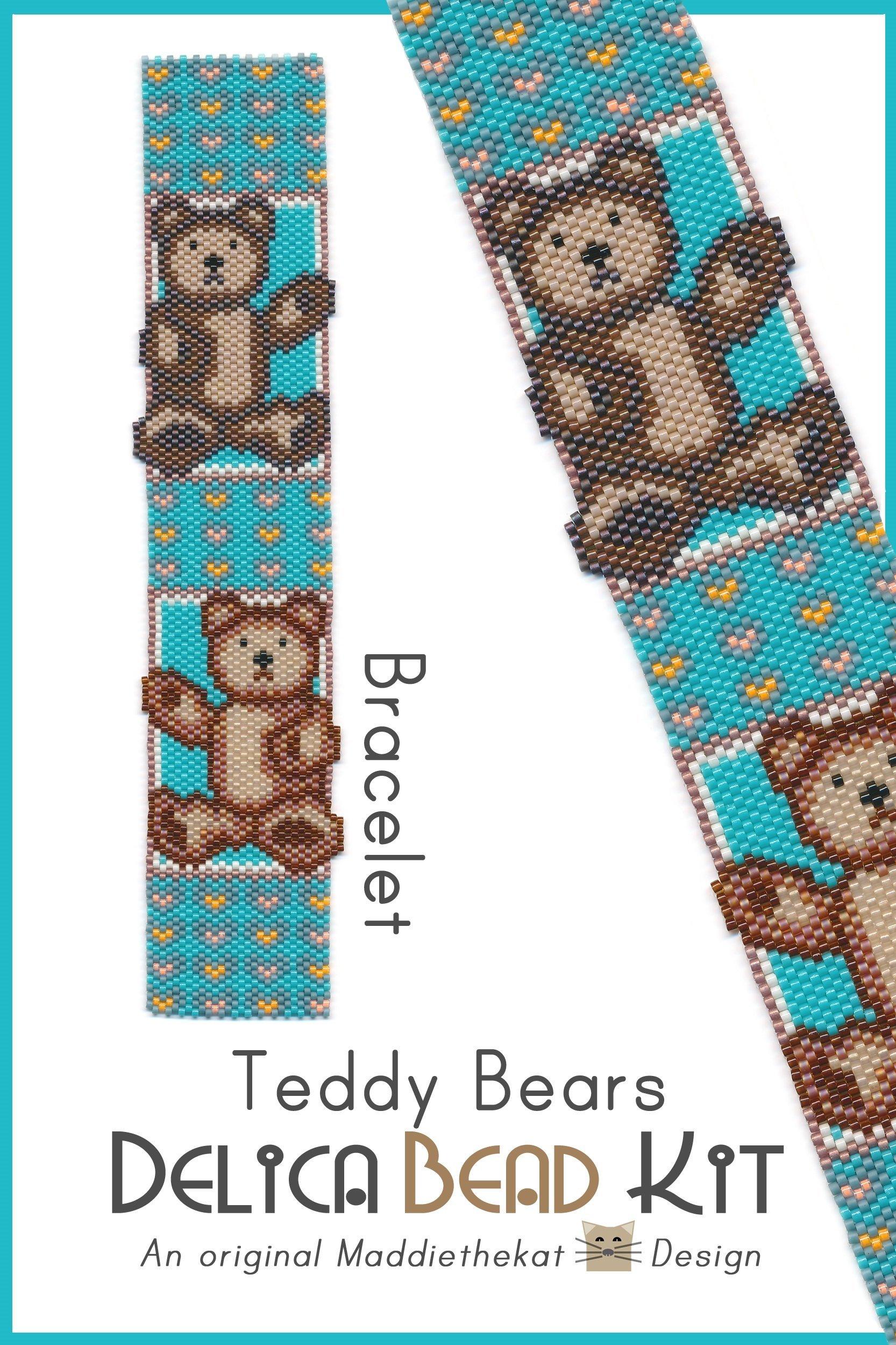 Teddy Bears Bracelet Peyote Bead Pattern PDF or Bead Kit