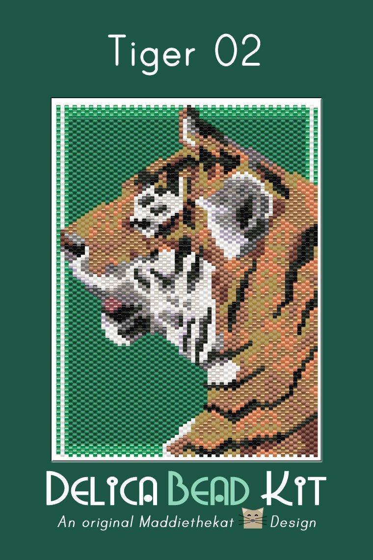 Tiger 02 Small Peyote Bead Pattern PDF or Bead Kit