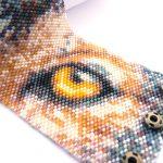 Wolf's Gaze Wide Cuff Peyote Seed Beaded Bracelet-Maddiethekat Designs