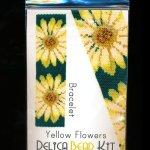 Yellow Flowers Wide Cuff Bracelet 2-Drop Peyote Bead Pattern or KIT DIY Flowers-Maddiethekat Designs