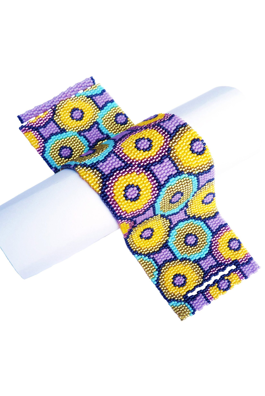 Circular Harmony Delica Seed Beaded Wide Cuff Bracelet