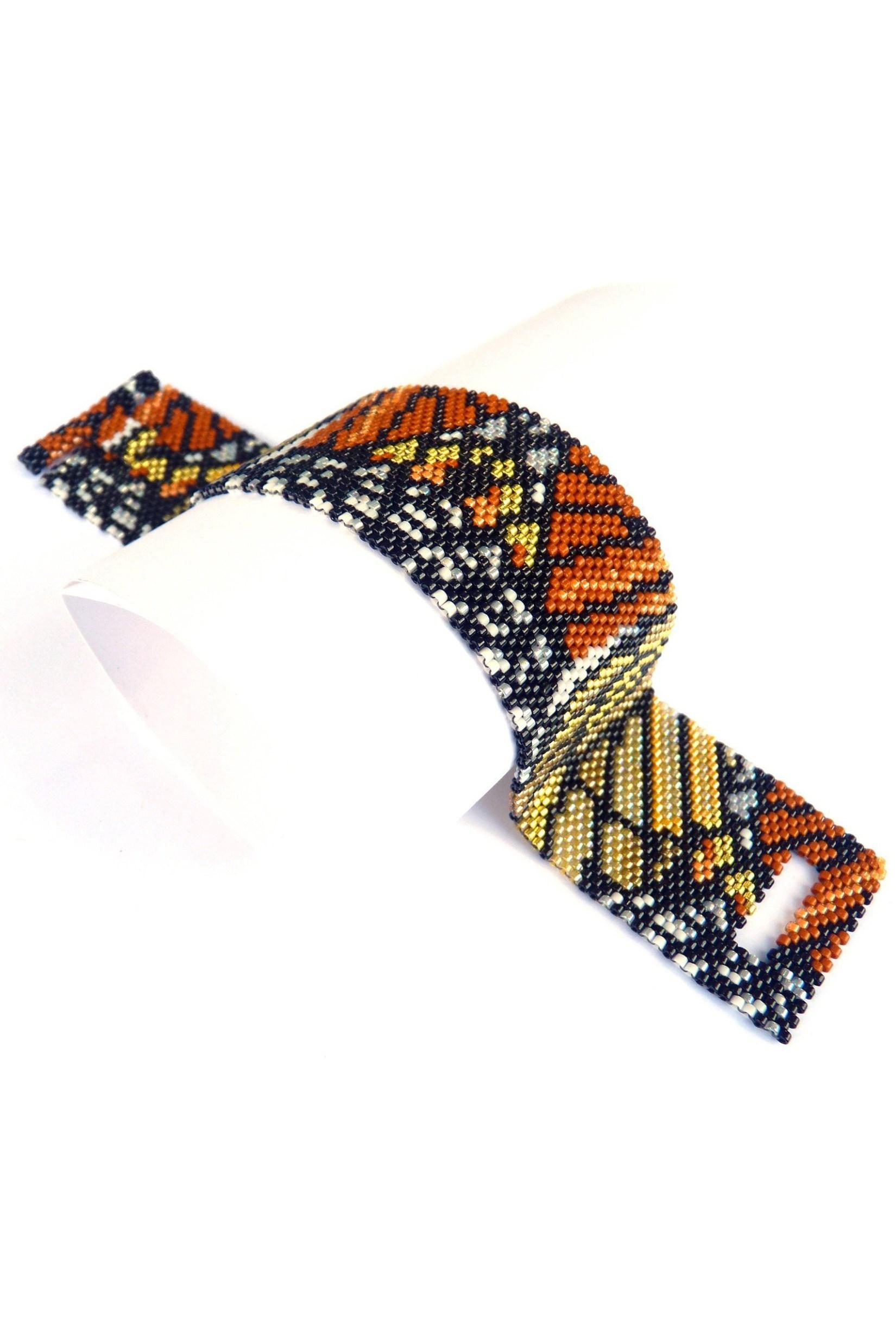 Butterfly Wings Design Delica Seed Beaded Bracelet