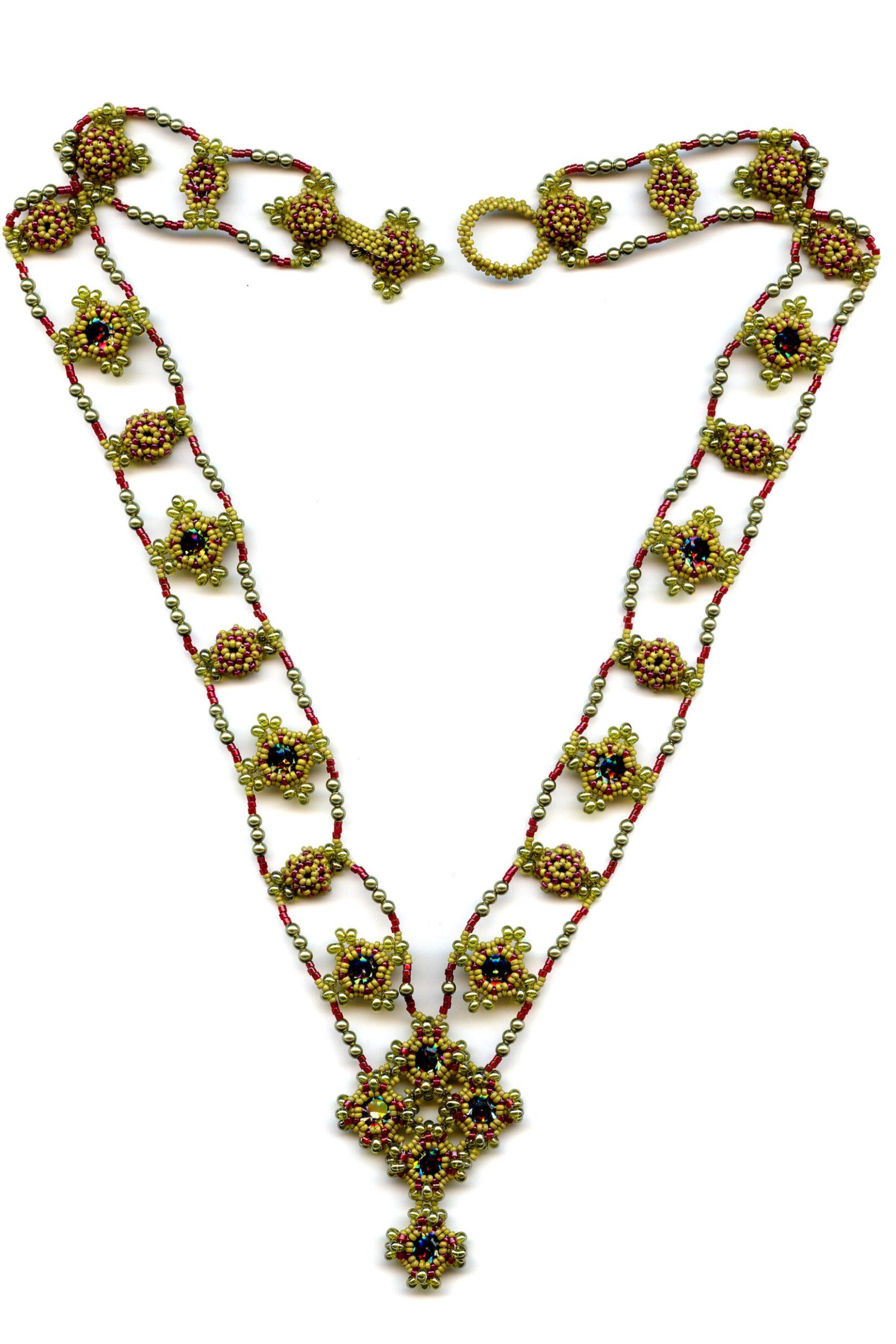 Byzantine Jewels Beaded Necklace Olive, Red, Vitrail Swarovski Crystal
