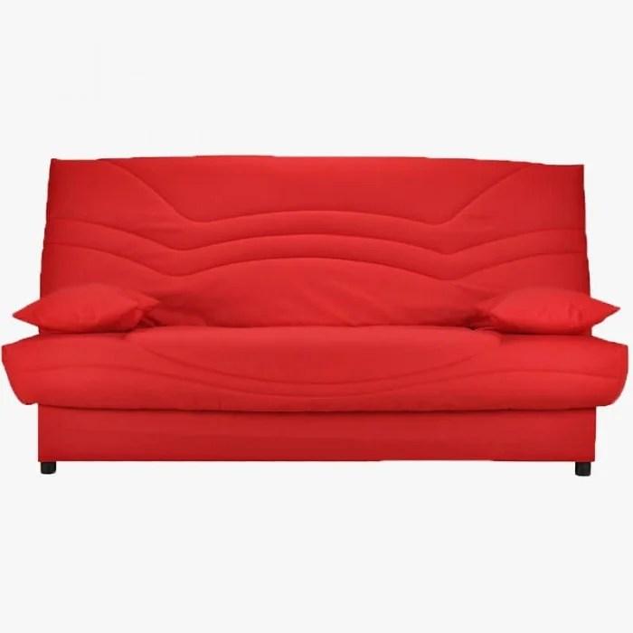 canape clic clac janis rouge avec matelas 13 cm