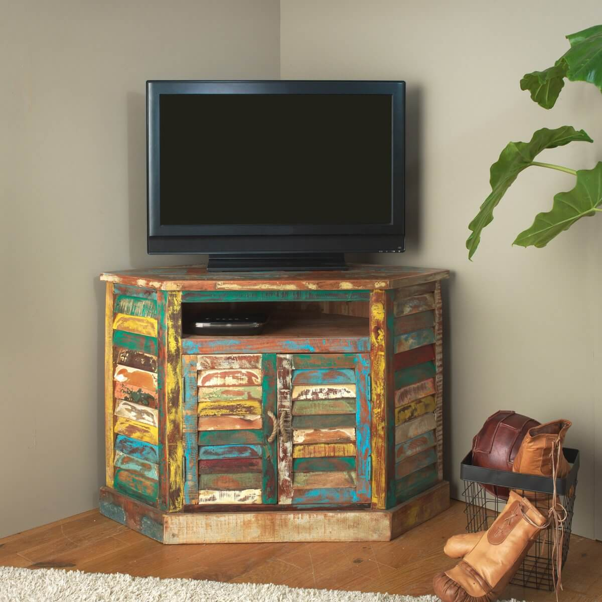 meuble tv d angle ethnik bois recycle colore