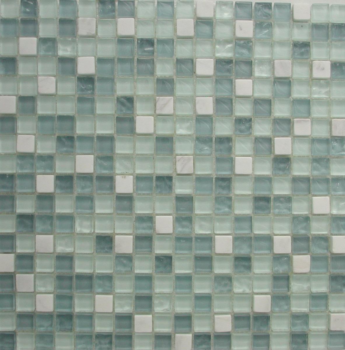bleu mosaique mix bleu turquoise clair et marbre blanc pate de verre vetrocristal plaque 30 cm