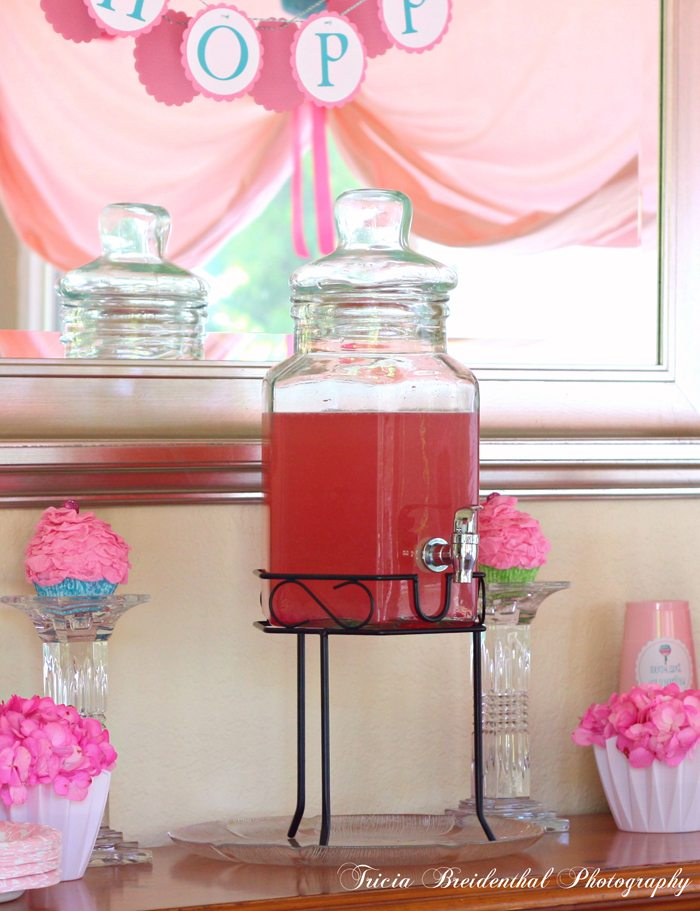 sparkling pink punch party recipe place pink hydrangeas in planters to look like cupcakes