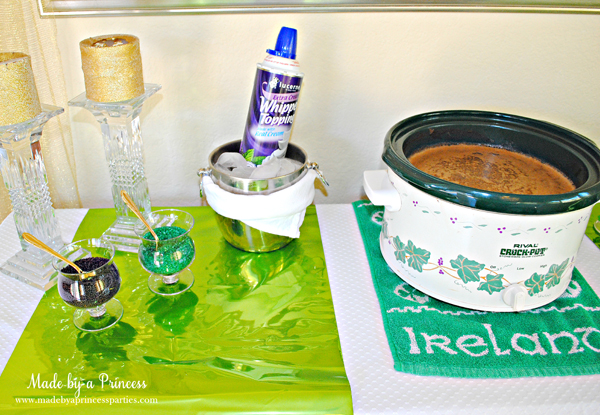 Kids St Patricks Day Party Ideas crock pot hot chocolate bar